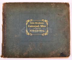 Sohr-Berghaus Universal-Atlas der neueren Erdbeschreibung über alle Theile der Erde in 114 Blättern. Herausgegeben von Dr. K. Sohr und F. Handtke. 5. Auflage. Glogau, 1857. Flemming. Kiadói aranyozott félbőr kötésben, részben hiányos gerinccel, erősen foltos lapokkal / With missing spine. Most of the pages are stained