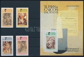 1981 Picasso, festmények sor + blokk, Picasso, paintings set + block Mi 537-540 + Mi 31