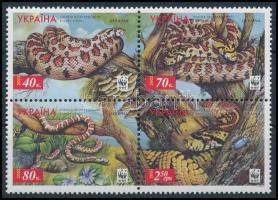 2002 WWF Kígyók négyestömb, WWF Snakes block of 4 Mi 502 A - 505 A
