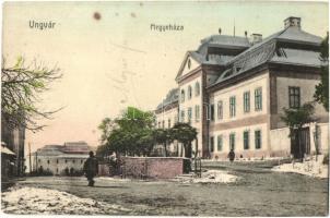 1911 Ungvár, Uzshorod, Uzhorod; Megyeháza, utcakép / county hall, street view (kis sarokhiány / small corner shortage)