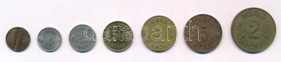 Izland 1946-1974. 1e-2K (7xklf) T:1-,2 Iceland 1946-1974. 1 Eyrir - 2 Kronur (7xdiff) C:AU,XF