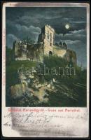 1910 Pozsonyborostyánkő, Stupavsky Podzámok, Borinka (Máriavölgy); Várrom este. Franz Schemm kiadása / Paulensteiner Ruine / castle ruins at night (kopott sarkak / worn corners)