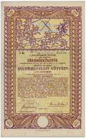 Budapest 1917. A magyar korona országai, 5-1/2%-kal kamatozó járadékkölcsön - államadóssági kötvény 10.000K-ról szelvényekkel, szárazpecséttel T:II