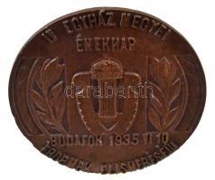 1935. IV. Egyházmegyei Éneknap - Budafok 1935. VI. 10. - Érdemek Elismeréséül Br emlékplakett hátoldalán támasztóval (135mm) T:2