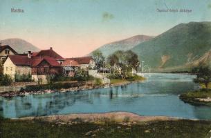 Ruttka, Vrútky; Turóc folyó látképe, vízparti házak / Turiec riverbank, riverside houses (EK)