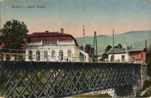 Ruttka, Vrútky; vasúti híd, kávéház és vendéglő, étterem, sorompó / railway bridge, restaurant and café, barrier