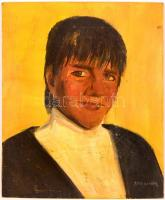 Aba jelzéssel: Női portré. Olaj, farost, foltos, 60×50 cm