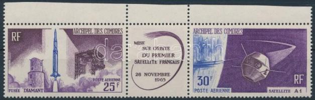 1966 Első francia műhold a világűrben hármascsík, First French satellite in space stipe of 3 Mi 72-73