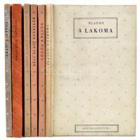 6 Remekmű, Officina Könyvtár hat kötete: Platon: A lakoma. (1.), Görög költők (13.), Régi olasz novellák (18.), Szent Ágoston vallomásai (19.), Delacroix naplója (24/25.), Arany legenda (26.) Bp.,1942,Officina. Kiadói kartonált papírkötés, kiadói sérült karton védőtokban, egy köteten kopásnyomokkal.
