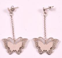 Ezüst(Ag) pillangós fülbevalópár, jelzett, 5,4×2,7 cm, nettó: 3,5 g