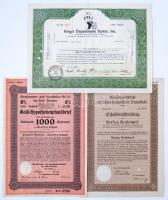 3db-os részvény tétel, benne Amerikai Egyesült Államok 1963. Kings Departmenr Stores, Inc. + Németország / Weimari Köztársaság / Drezda 1928. Grundrenten und Hypotheken-Anhalt der Stadt Drezden + Németország / Weimari Köztársaság / Darmstadt 1929. Landeshaupstadt Darmstadt Auslosungs-Schein, mindhárom lyukasztással érvénytelenítve T:I--III 3pcs of various shares, including USA 1963. Kings Departmenr Stores, Inc. + Germany /Weimar Republic / Dresden 1928. Grundrenten und Hypotheken-Anhalt der Stadt Drezden + Germany /Weimar Republic / Darmstadt 1929. Landeshaupstadt Darmstadt Auslosungs-Schein, all cancelled with holes C:AU-F
