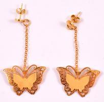 Aranyozott ezüst(Ag) pillangós fülbevalópár, jelzett, 5×2,7 cm, nettó: 3,5 g
