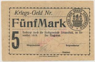 Német Birodalom / Sommerfeld 1918. 5M szárazpecséttel, bélyegzésekkel T:III German Empire / Sommerfeld 1918. 5 Mark with embossed stamp and stamps C:F