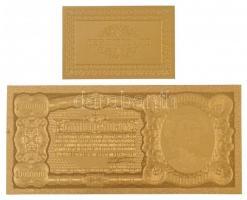 1923. 1.000.000K aranyozott bankjegy replika, aranyozott tanúsítvánnyal T:I