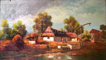 Almády István: Falusi idill. Olaj, vászon, jelzett. 67x120 cm Fa keretben.
