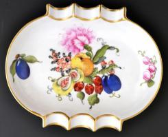 Herendi Fruits & Flowers (BFR) mintás hamuzótálka, kézzel festett, jelzett, hibátlan, 13,5×11 cm