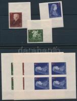 1942 Vöröskereszt II. 3 vágott érték és 3 vágott kisív (12.900)