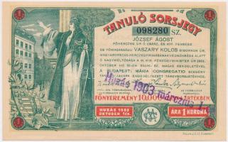 Budapest 1903. Tanuló Sorsjegy 1K értékben, felülbélyegzéssel T:I-