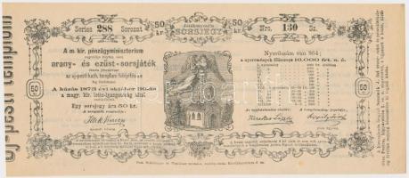 Budapest / Pest 1873. A Magyar Királyi Pénzügyminisztérium arany- és ezüst sorsjátéka az Újpesti Katolikus Templom felépítésének javára 50kr értékben T:I-