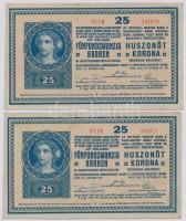 1918. 25K 3116 (2x) sorszámkövetők 3mm, hullámos hátlap, eltérő sorozat és sorszám T:I,I-