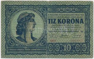 1919. július 15. 10K frigiai sapka T:II,II- hajtás mentén kis szakadás Adamo K12