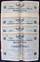 Esztergom 1932. Esztergomi Kereskedelmi és Iparbank részvénye teljesen befizetett 25P-ről, szárazpecséttel és szelvényekkel (6x) benne négy sorszámkövető és egy egyugrásos sorszámkövető pár T:III