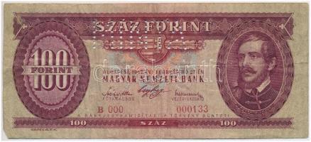 1947. 100Ft B 000 - 000133 sorozat és sorszámmal illetve MINTA perforációval T:III Hungary 1947. 100 Forint with B 000 - 000133 serial number and with MINTA(SPECIMEN) perforation C:F