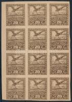 Debrecen II. 1920 20f vágott próbanyomat 12-es tömb / Mi 83 x imperforate proof in block of 12. Signed: Bodor