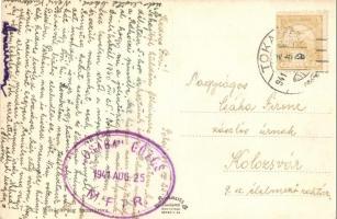 1941 Csaba MFTR gőzös pecsétje. Bodrog részlet a Csaba oldalkerekes vontató gőzössel Tokajban / Hungarian sidewheeler towing steamship (EK)