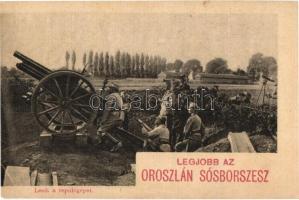 Lesik a repülőgépet. Osztrák-magyar katonák légvédelmi ágyúval (Flieger-Abwehrkanone). Oroszlán sósborszesz reklám / WWI Austro-Hungarian K.u.K. military soldiers with anti-aircraft gun, cannon (EK)