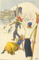 Budapesti Svábhegy Szanatórium Klimatikus Diétás Gyógyintézetének reklámlapja síelőkkel, téli sport. Globus / Hungarian sanatorium advertisement, skiers, winter sport
