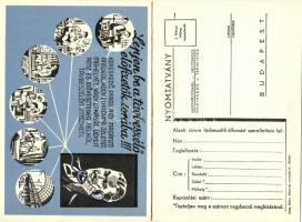 Lépjen be a távbeszélő előfizetők sorába! A Magyar Királyi Posta Távbeszélő Propaganda Irodájának reklámlapja és válaszlapja kihajtható képeslapon / advertisement postcard of the Hungarian Royal Posts Phone Propaganda Office, foldable card