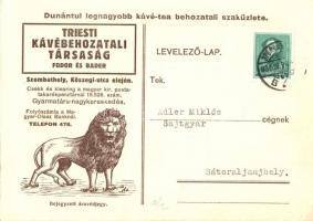 Triesti Kávébehozatali Társaság (Fodor és Bader) Szombathely, Kőszegi utca / Hungarian coffee import advertisement card