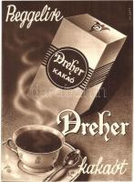 Reggelire Dreher kakaót! Dreher kakaópor reklámlap / Hungarian Dreher cocoa powder advertisement s: Kripácz