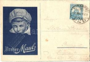 1928 Dreher Maul reklámlap a Budapesti Nemzetközi Vásárra / Hungarian chocolate advertisement card for the International Fair in Budapest (EK)