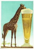 Export Monimpex Budapest reklámlap / Giraffe beer advertisement art postcard