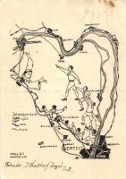Budapest-Esztergom térkép, rajta hajó, vasút és autó út is jelölve. Szent Antal Kollégium Ferences Nevelőintézet és Gimnázium / Hungarian route map between Budapest and Esztergom (EK)