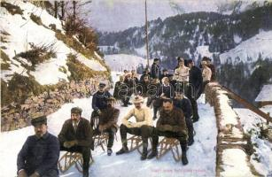 Engelberg, Start zum Schlittenrennen, Wintersport / Téli sport, szánkózók / winter sport, sledding. R. Hess (EK)