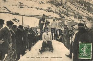 Sports dHiver. Le départ - course de luges / Bobschlitten, Wintersport / Téli sport, szánkózók / winter sport, sledding, toboggan run. TCV card (EK)
