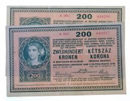 1918. 200K A 2067 hullámos hátlappal (2x) sorszámkövetők T:III szép papír