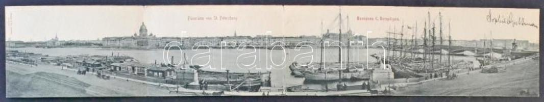Saint Petersburg, St. Petersbourg; 4-tiled panoramacard with port view, ships, barges with timber
