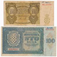 Független Horvát Állam 1941. 10K + 100K T:III  Independent State of Croatia 1941. 10 Kuna + 100 Kuna C:XF