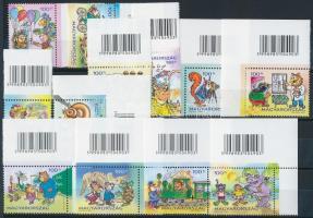 2008 Filafalu I-VI különdíjat nyert bélyegsor, 12 klf bélyeg ívsarki ill. ívszéli vonalkóddal (katalógus ár felárak nélkül 2.400)