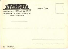 Esti Kurir liberális napilap reklámlapja. Főszerkesztő: Rassay Károly / Hungarian liberal newspapers advertisement card (EK)