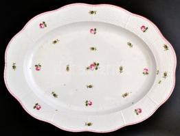 Óherendi rózsamintás tál, kézzel festett, jelzett, kopásokkal, 41×32 cm