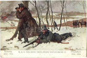 Weltkrieg 1914-1916 - K.u.K. Husaren-Regiment. Erzh. Franz Salvator Nr. 15. Verlag K.u.K. Kmdo. der 27. Inf. Trp. Dion. / WWI Austro-Hungarian military hussars s: Hans Larwin (EK)