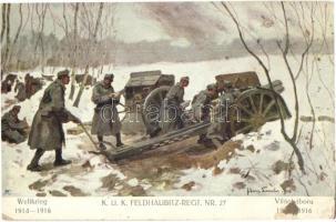 Weltkrieg 1914-1916 K.u.K. Feldhaubitz-Regt. Nr. 27. Verlag K.u.K. Kmdo. der 27. Inf. Trp. Dion. / WWI Austro-Hungarian military artillery s: Hans Larwin (EK)