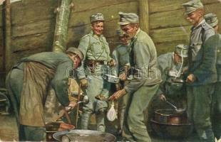Weltkrieg 1914-1916. Menage-Verteilung im Schützengraben an der Nordostfront / WWI Austro-Hungarian K.u.K. military soldiers portioning the lunch (EK)