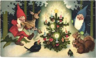 Christmas greeting card, dwarves with squirrels. Nr. 3220. litho (EK)