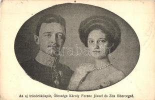 Az új trónörököspár, őfensége Károly Ferenc József, Zita főhercegnő / Charles I of Austria, Zita (EK)